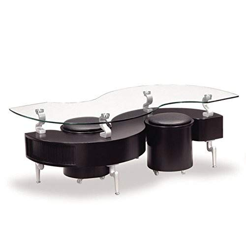 Global Furniture Black Occasional Coffee Table with Silver Legs