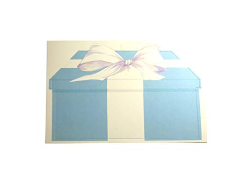 Blue Gift Box With White Bow - 60 Flat Die Cut Invitations and Envelopes 7.75