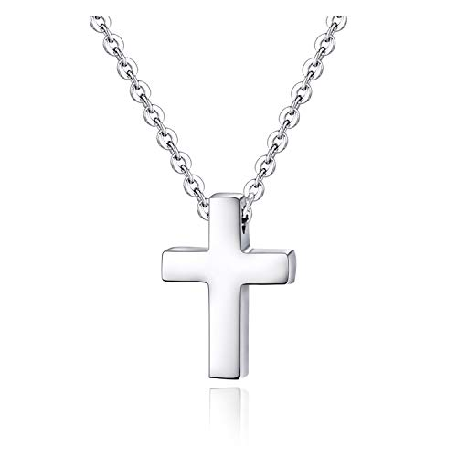 Xianli Wang Tiny Simple Cross Pendant for Children Boy Girl Stainless Steel Small Necklace (Silver-Tone-Age Under 10)