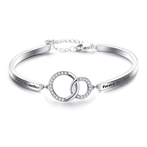EVER FAITH Glamorous CZ 'Always My Mother Forever My Friend' Double Circles Infinity Link -
