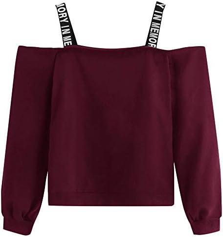 Aniywn Spaghetti Shoulder Pullover Sweatshirt