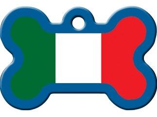 Italian Dog Tag - National Flags Large Bone Shape Personalized Custom Engraved Pet ID Tags! (Italian Flag)