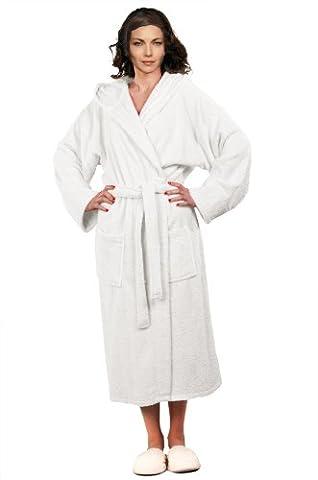 Luxury Heavyweight White Terry BathRobe, Pure Cotton Hooded Terry Robe Size L - White Terry Hooded Cover Up