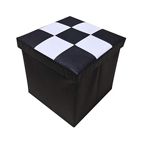 (Lhh Faux Leather Folding Suqare Storage Ottoman Cube for Kids Foot Rest Stool Seat 12inch,Black and White)