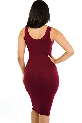 rodilla mangas verano Rojeam de mujer Red Vestido mangas Wine sin la hasta sexy para sin qzFXzw7