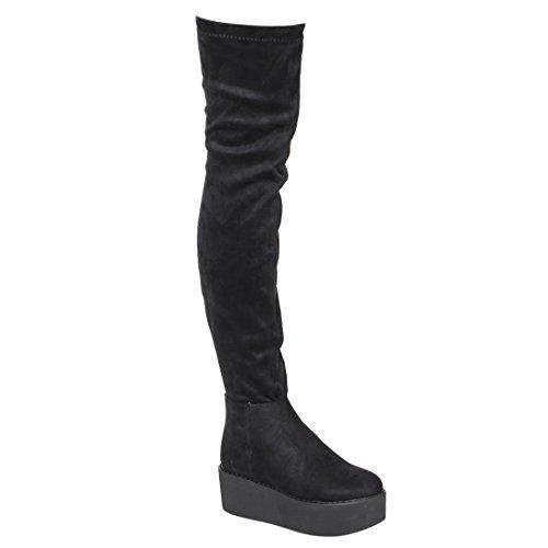 BESTON EK07 Womens Stretchy Snug Fit Platform Wedge Over The Knee High Boots