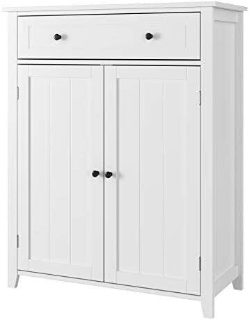Amazon Com Homfa Bathroom Floor Cabinet 31 5lx13 8wx39 4h Inch Free Standing Large Side Cabinet Dresser Wooden Storage Organizer With 1 Large Drawer And 2 Door For Bedroom Home Office White Kitchen Dining