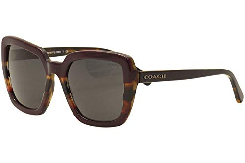 COACH Women's 0HC8217 Oxblood Tortoise Varsity Stripe/Dark Grey Solid One Size
