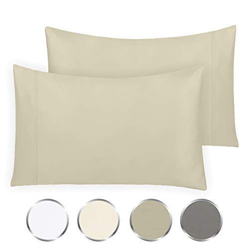 California Design Den Hotel Style True Luxury 100% Pure Cotton 1000-Thread-Count Standard Size Solid Taupe (21 x 32) 2-Piece Pillowcase Set - Single Ply Soft Sateen Weave Premium Yarns