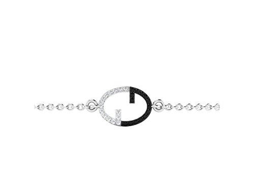 Libertini bracelet argent 925 femme plaque or Jaune serti de Diamant en forme de Ovale