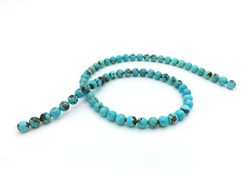 Blue Ridge Turquoise 6mm Natural Turquoise Round Bead Strand (16'' Strand)
