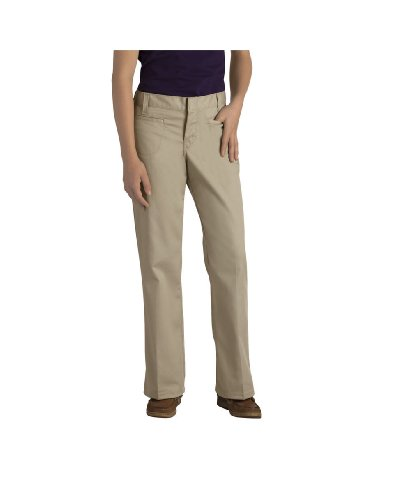 Dickies KP5111KH Girls' Stretch Welt Pocket Flare Bottom Pant (Khaki;10)