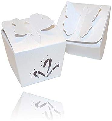 Einssein 12x Caja de Regalo Boda Mariposa Blanco Perla Cajas ...