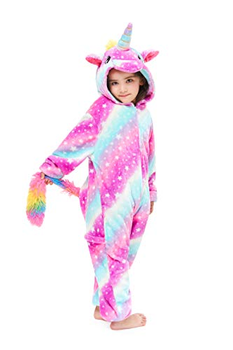 Yutown New Kids Unicorn Costume Animal Onesie Pajamas Halloween Dress Up Gift Starry 120 -