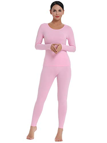 Amorbella Women's Thermal Set Insulated Underwear Microfiber Fleece Lined Winter Base Layer (Pink, Small)