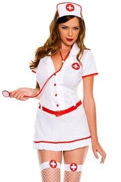 MUSIC LEGS Flirty Stand By Nurse, White/Red, (Flirty Nurse Costumes)