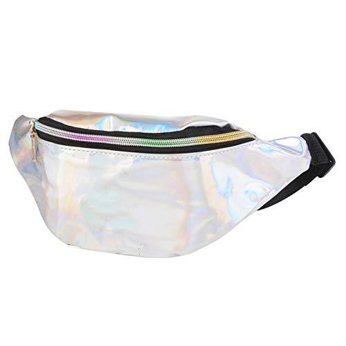 2019 Women Fanny Pack Steam Punk Leg Bag Reflective Laser Shoulder Bag Women's Belt Waist Bag Pochete Women Waist Pack,light grey B