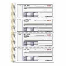 Receipt Book,Crbnls,2-Part,4 p/Page,7-5/8 quot;x11 quot;,300/BK by Rediform®