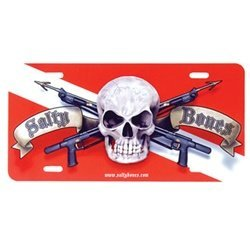 New Salty Bones Aluminum Scuba Diving License Plate - Skull & Crossed Guns on Dive Flag