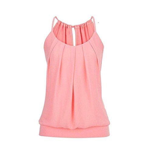 Embellished Silk Cami (iTLOTL Women Summer Loose Wrinkled O Neck Cami Tank Tops Vest Blouse(US:14/CN:XXXXL,Pink ))