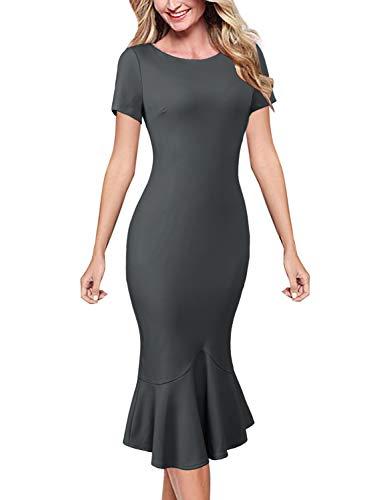 VFSHOW Womens Grey Elegant Vintage Casual Cocktail Party Bodycon Pencil Mermaid Midi Mid-Calf Dress 1216 Gry XL