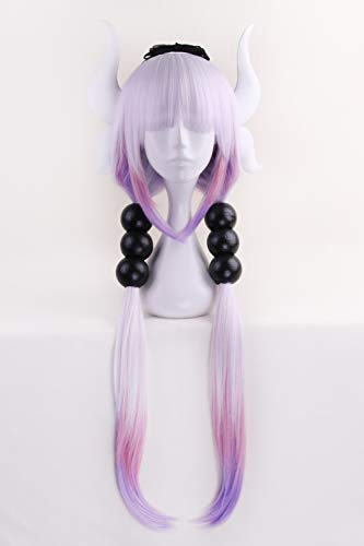 Anime Cosplay Wig Long Purple White Mixed Gradient Hair Synthetic Wigs+6 Balls+Horn+Tail -