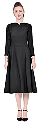 Marycrafts Womens Elegant Classy Office Business Long Tea Midi Dress