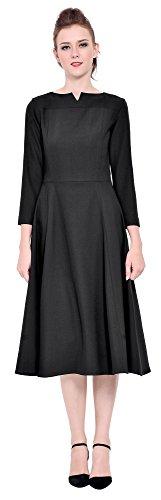 Marycrafts Womens Elegant Classy Office Business Long Tea Midi Dress 18 black Classy Office