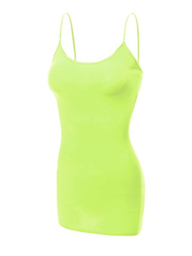 Emmalise Women's Basic Casual Long Camisole Adjustable Strap Cami Layering Top, 2XL, Neon Green