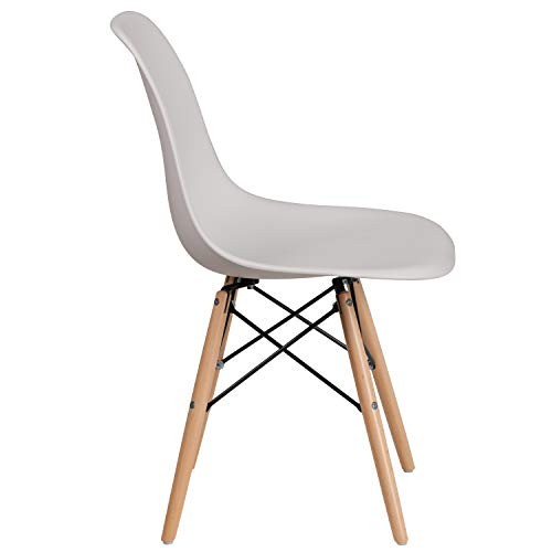 Flash Furniture Elon Series White Plastic Chair with Wooden Legs