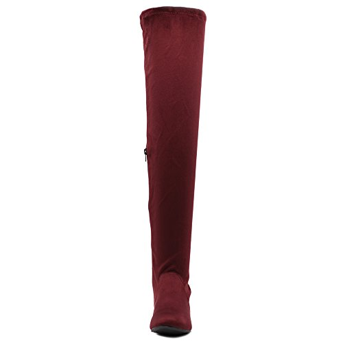 or Thigh suede high Long Zip Suede Faux Shoe Faux Women Adjustable Leather Wine Up Drawstring Boots Span Ollio qR0CT