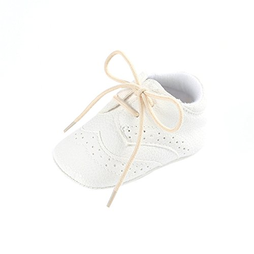 (for 0-18 Months Baby, Vintage Brogue Baby Shoes Girl Boy Shoes First Walkers Shoes Soft Leather Crib Shoes (White, 12-18 months) )