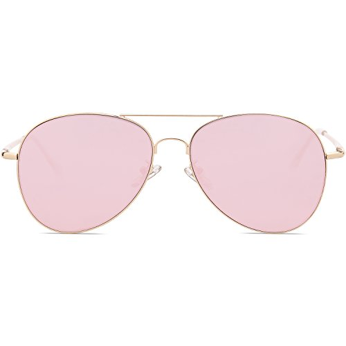 SOJOS Classic Aviator Mirrored Flat Lens Sunglasses Metal Frame with Spring Hinges SJ1030 With Gold Frame/Pink Mirrored Lens by SOJOS (Image #1)