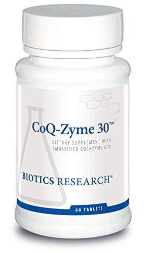 Biotics Research Coq-Zyme 30 – 30 mg of emulsified coenzyme Q10 (CoQ10), as Well as a Full complement of Important B Vitamins. Supplies Superoxide dismutase and catalase, Two Important antioxidants.