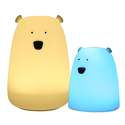 GreenClick Polar Bear Silicone Night Lights for Kids Room, Parent-Child Touch Control Bedroom Lamp USB Rechargeable with 7 Color Breathing Modes