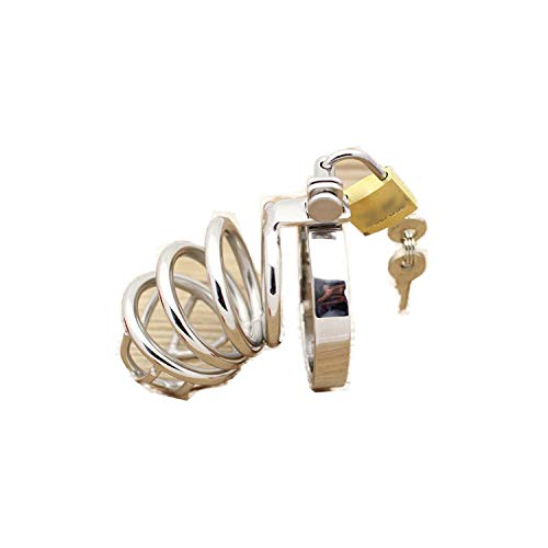 sensitives Male Chastity Device Stainless Steel Cock Short Cage Men's Virginity Lock, Small Chastity Belt Adult Game Sex Toys 38mm by sensitives (Image #2)