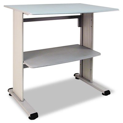 Buddy Products Stand Up Workstation with Beveled Edge, 26.5 x 39.75 x 36.75 Inches, Gray (6461-18) Buddy Products Printer