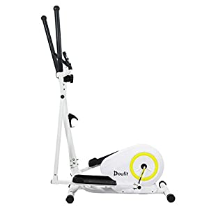 Doufit Elliptical Machine for Home Use, Eliptical Exercise Machine for Indoor Fitness Gym Workout, Adjustable Magnetic Elliptical Cross Trainer with LCD Monitor and Pulse Sensors