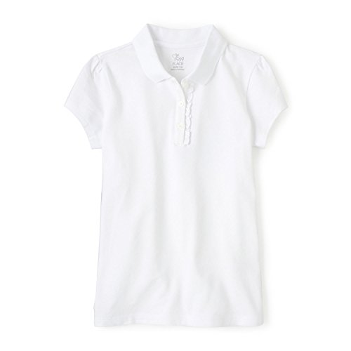 The Children's Place Big Girls' Uniform Short Sleeve Polo, White-Ruffle 44391, - Shirt Polo Sleeve Short