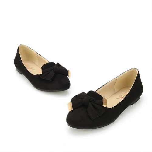 Toe WeenFashion US 5 with Suede Pointed B Black M Bowknot Closed PU Flats Frosting Solid Women's rqgZtwpxr