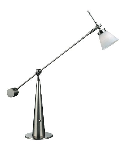 Lite Source LS-2633PS/FRO Admiral Halogen Desk/Table Lamp, Polished Steel with Frost Glass Shade (Frost Halogen Floor Lamp)