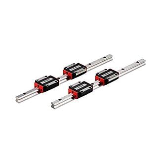TEN-HIGH Linear Rail CNC Parts 2pcs Linear Rail HSR15 200mm Approx. 7.87inch Linear Guideway Rail+4pcs HSR15CA Square…