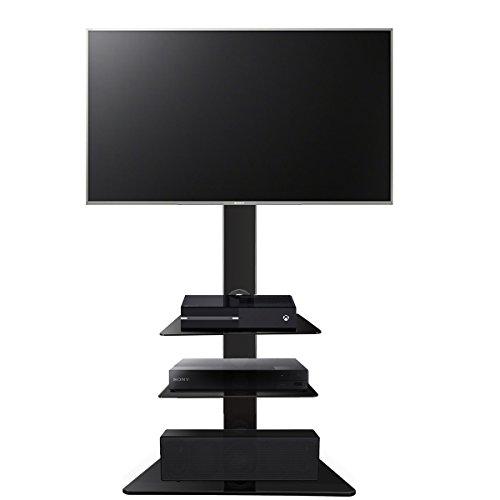 1home LCD/LED TV Fernseher Ständer Stand Fernsehtisch Standfuss Glas Standfuß Halterung Höhenverstellbar Fernsehstand LED Flachbildschirm Rack Tischständer für 30-55 Zoll
