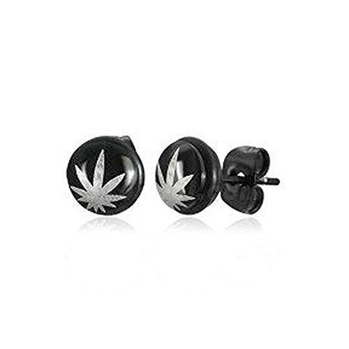 Black & Gray - Marijuana Leaf Earrings (One Pair) Cannabis Pot Leaf Emblem Decal Stud Earrings. 420 - Hemp Marijuana accessories for men or women. Novelty Marijuana Weed Jewelry (Black and Gray) (Bolt Pipe For Weed)