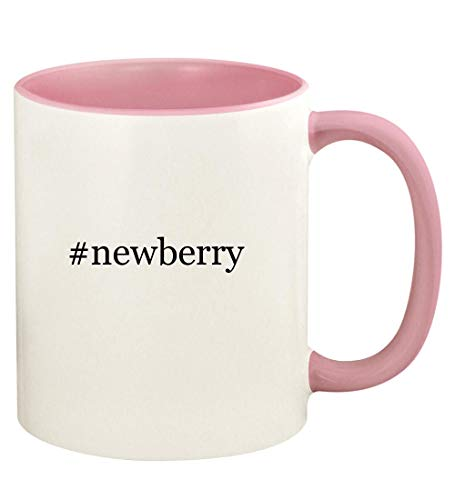 #newberry - 11oz Hashtag Ceramic Colored Handle and Inside Coffee Mug Cup, Pink