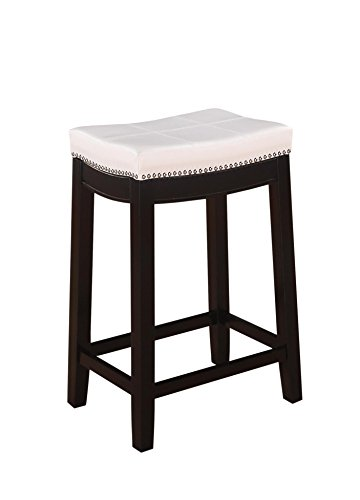 Linon Claridge Patches Counter Stool, 26-Inch, White by Linon