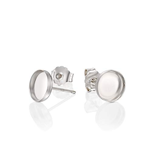 Round Setting 925 Sterling Silver 8 mm Bezel Cups Stud Earrings with Post & Butterfly Backs, 4 Pcs (2 ()