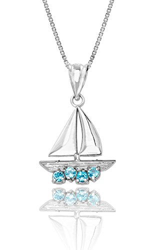(Honolulu Jewelry Company Sterling Silver and Blue Topaz Sailboat Necklace Pendant with 18