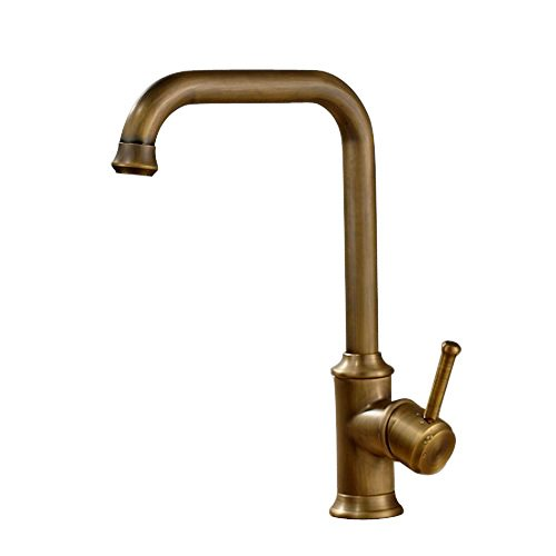 Vintage Deck Mount Single Hanle Control Single Hole Mixer Taps Swivel Lavatory Basin Taps Basic Style Antique Brass Tall Spout Vessel Bathroom Faucet ()