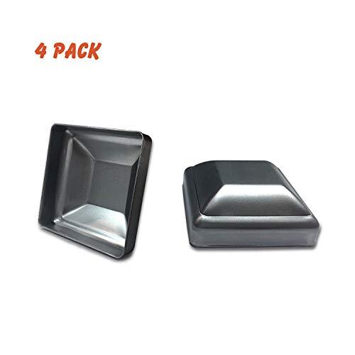 (4 Pack) OASIS Steel Fence Post Cap, Pressed Steel Post Caps 3x3 Square Post Caps 3 Inch, Unpainted